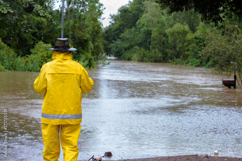 Conroe, Texas/USA – August 28, 2017: Flooding from Hurricane Harvey in Glen Eagle subdivision; a subdivision in Conroe, TX off of HWY 242.