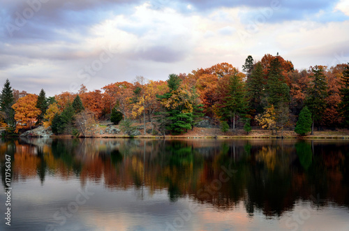 Autumnal view of Lusk Reservoir, United States Military Academy at West Point, New York.