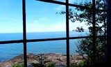 Lake view from cabin window - 171757977