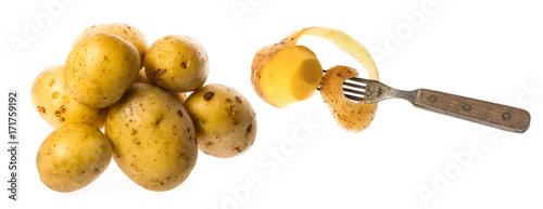 Fotobehang Verse groenten a fresh raw potatoes on a white background