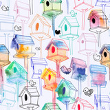 Seamless pattern with watercolor birdhouse on white background. Hand-drawn bird houses in line style with watercolor silhouettes. Illustration for fabric print, wallpaper, wrapping paper, backdrop.