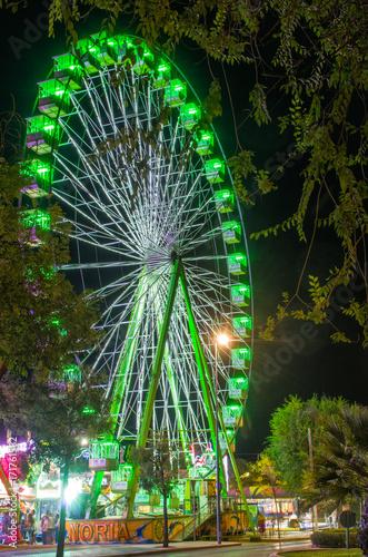 Deurstickers Amusementspark Attraction of fair, ferris wheel