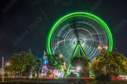 Plakat Attraction of fair, ferris wheel