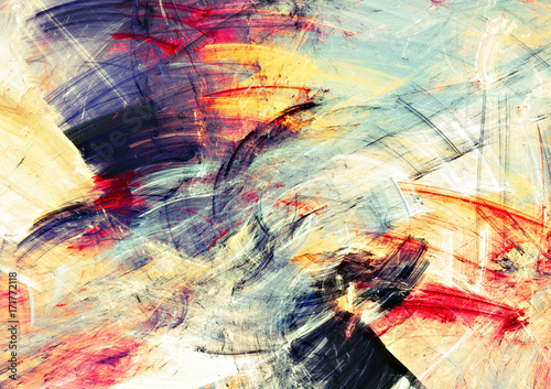Zdjęcia na płótnie, fototapety na wymiar, obrazy na ścianę : Bright artistic splashes. Abstract painting color texture. Modern futuristic motion multicolor pattern. Multicolor dynamic background. Fractal artwork for creative graphic design