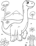 Cute Brachiosaurus Dinosaur Vector Illustration Art