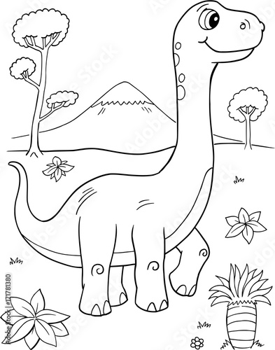 In de dag Cartoon draw Cute Brachiosaurus Dinosaur Vector Illustration Art
