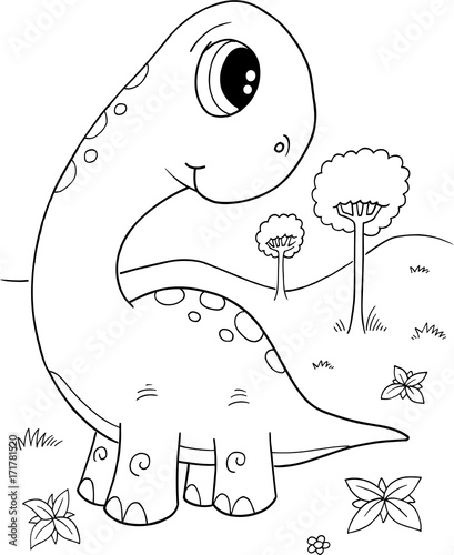 In de dag Cartoon draw Cute Dinosaur Vector Illustration Art