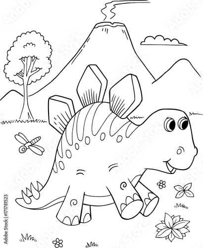 In de dag Cartoon draw Cute Stegosaurus Dinosaur Vector Illustration Art