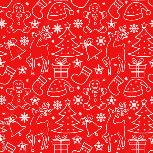 Materiał do szycia Seamless Christmas pattern with white elements on a red background, outline drawing, traditional Christmas elements - tree, gift, snowflakes, reindeer, gingerbread man, santa hat, sock, bell.