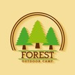 forest outdoor camp adventure land tree badge vector illustration - 171795196