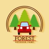 forest outdoor camp jeep travel tree badge vector illustration - 171795540
