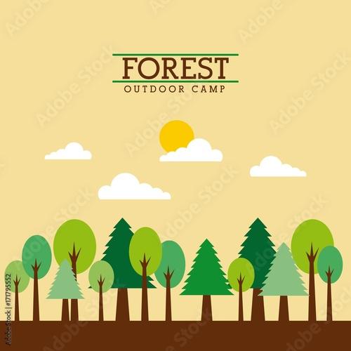Papiers peints Beige forest outdoor camp landscape natural mountain tree cloud sun vector illustration