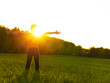 Happy person in the field with raised arms on the sunset