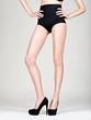 beautiful woman legs in high heels, black panties