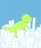 City and dinosaur. Abstract Skyline and monster. Industrial landscape and dino. Vector illustration