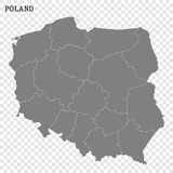High quality map of Poland with borders of the regions or counties