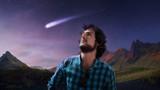 Dreamer young man follows the star, falling star, concept, - 171802921