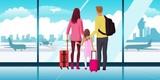Family waiting at airplane
