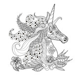 Monochrome zentangle style sketch of unicorn head with lush mane stock vector illustration