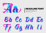 Expressive Decorative Typography. Display Type with Glitch Overlay Effect. Combination of Sans-Serif and Lettering for Bright Title, Heading, Poster, Advertising. Modern Letters with Layers.
