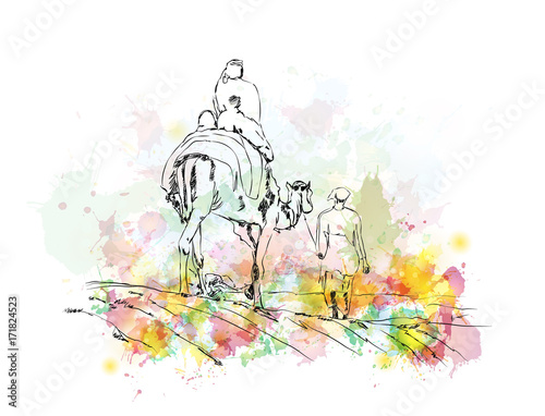 Watercolor sketch of Camel riding as a travel with people in vector illustration.