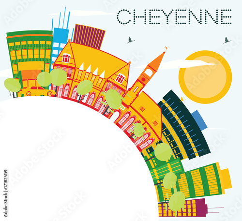Sticker Cheyenne Skyline with Color Buildings, Blue Sky and Copy Space.