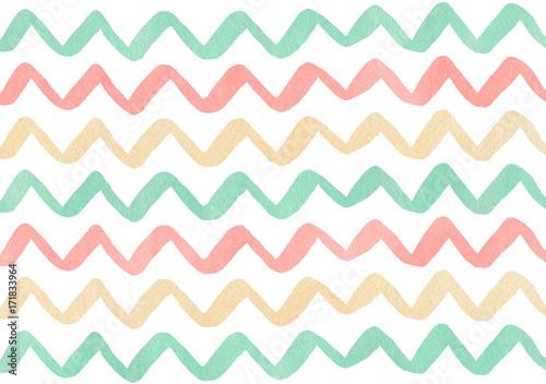 Watercolor stripes background, chevron. - 171833964