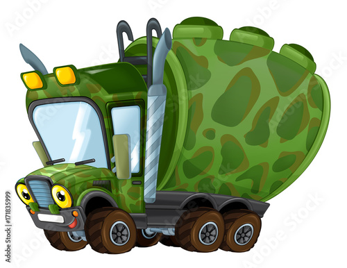 cartoon happy military truck cistern isolated - 171835999