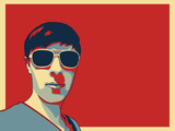 A guy with sunglasses portrait in pop art style. - 171837503