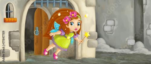 cartoon scene with flying little fairy in front of castle gate - illustration for children - 171847789