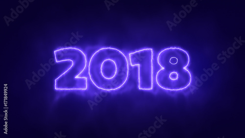 2018 New Year Glowing or Burning Neon Text, 3D Render. 3D Illustration of Glow 2018 Digits, Dark Background