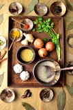 Indian food ingredients on the rusted tray - 171852340