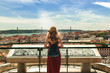 People in Lisbon - traveler on tour on city streets with panorama view - 171855987
