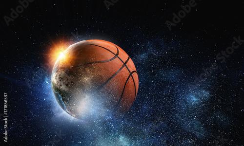 Deurstickers Heelal Basketball game concept