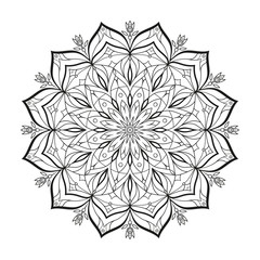 Flower monochrome abstract vector mandala is isolated on a white background. Decorative element with east motives for design. Version of the page for coloring