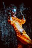 crazy clown with a gun