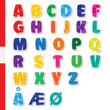 Cute funny childish Danish alphabet. Vector font illustration