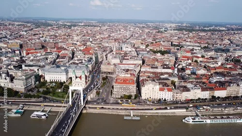 Poster Aerial footage of Budapest, Hungary over the Danube river on a summer's day.