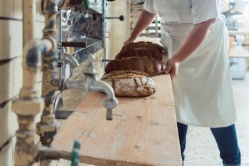 Frisches Brot auf einem Brett in Backhaus einer Bäckerei