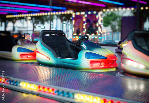 Fotobehang Amusementspark Colorful electric bumper car in amusement park.