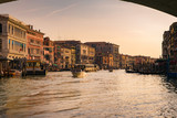Grand canal at sunset seen from under the Rialto Bridge, Venice.