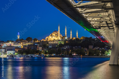 Long exposure aesthetic view of Halic Metro Bridge during the twilight Poster