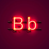 Neon font letter b, art design singboard. Vector illustration