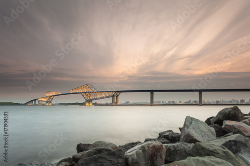 Tokyo bay with Tokyo gate bridge in evening Poster