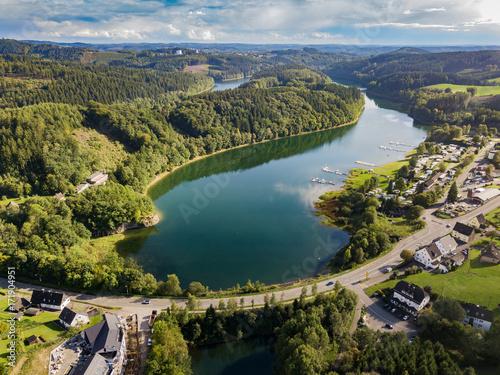 Aerial view of the agger dam in Gummersbach-Lantenbach - 171904951