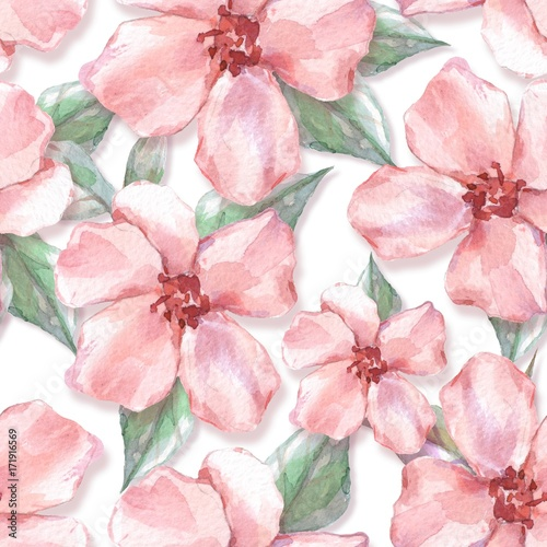 Floral seamless pattern 10. Watercolor background with delicate flowers - 171916569