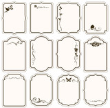 Vector set of decorative vintage tags, calligraphic floral frames, ornaments for scrapbook and wedding invitation design - 171919355