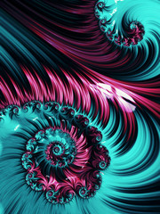 Pink and blue spiral abstract fractal pattern