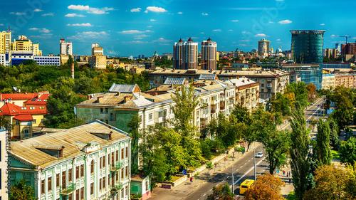 Aluminium Kiev Kiev or Kiyv, Ukraine: aerial panoramic view of the city center in the summer
