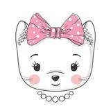 Cute cat girl. Portrait little kitten with bow